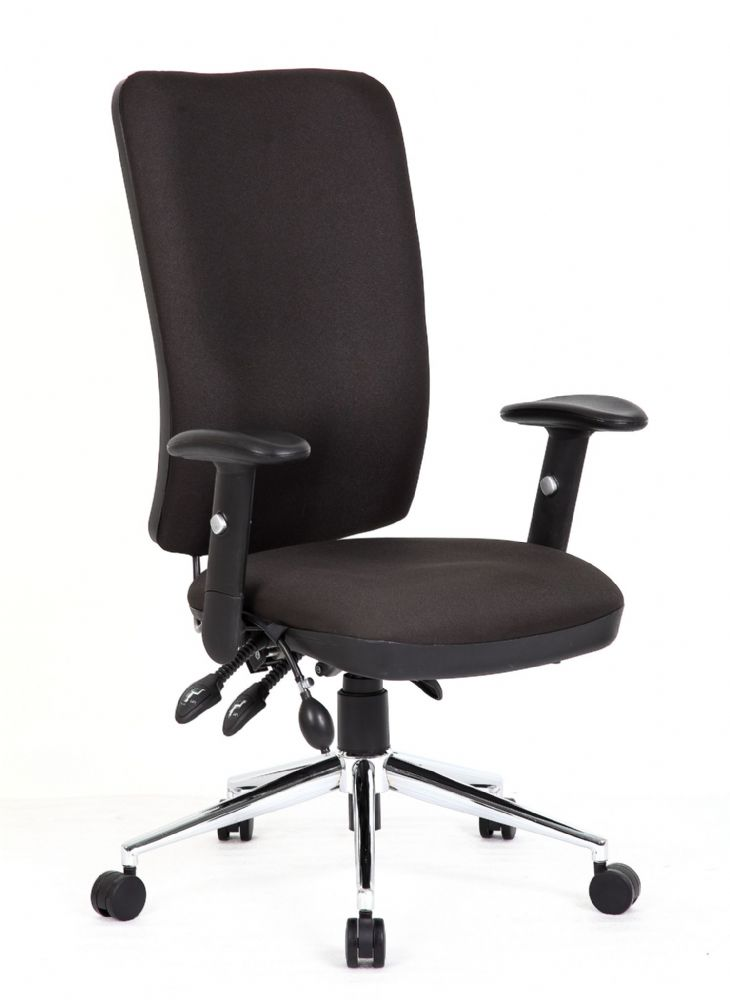 Chiro High Back Operators Chair Office Height Adjustable Arms Various Colour Choices